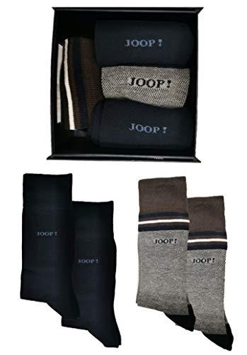 Joop! Herrensocken 2-er Pack, Muster und Uni, Organic Soft Cotton, Navy, 43-46