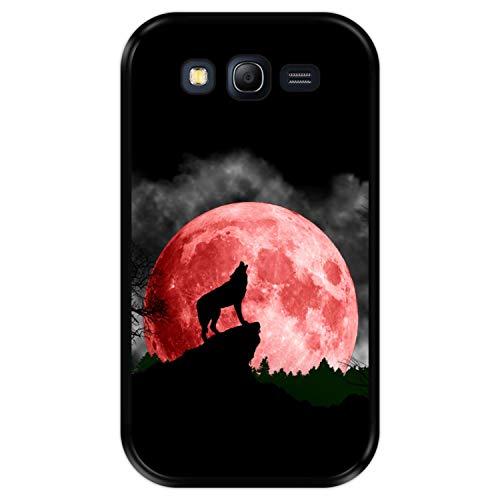 Hapdey Custodia per [ Samsung Galaxy Grand Neo - Neo Plus ] Disegni [ Luna Rossa, Lupo Che Ulula ] Cover Guscio in Silicone Flessibile Nero TPU