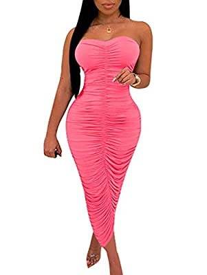 BEAGIMEG Women's Sexy Ruched Strapless Bodycon Tube Maxi Long Club Dress Fluorescent Pink