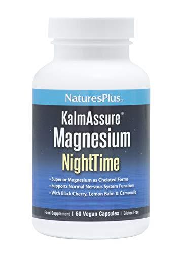 NaturesPlus KalmAssure Nighttime - Magnesium, L-Theanine, Ashwagandha, Lemon Balm, B6, Hops for Relaxation and a Restful Night – Vegan and Gluten Free- 90 Capsules, 30 Servings