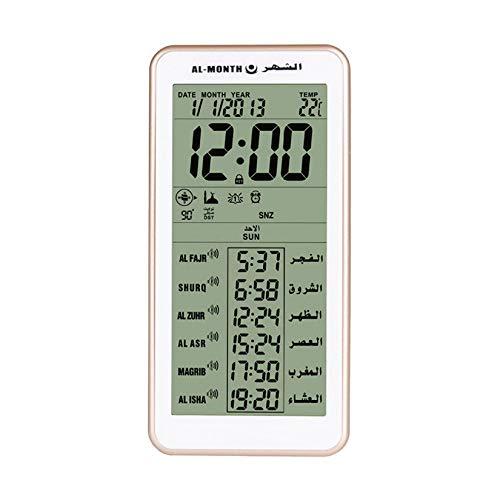 LANGSHI Azan Uhr LED Islamische Uhr Muslimische Gebetsuhr Tisch Schreibtisch Digital Wecker für Home Office Dekorative Ramadan Geschenk Gold