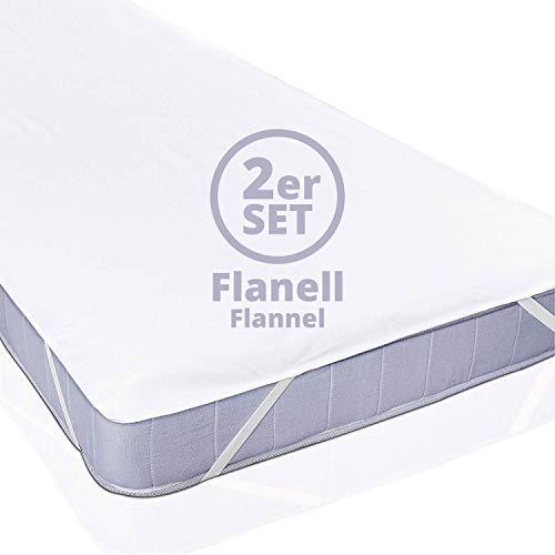 Lumaland Wasserundurchlässige Matratzenauflage aus Flanell Kopfkissenschoner in verschiedenen Größen 2er Set 90 x 200 cm weiß
