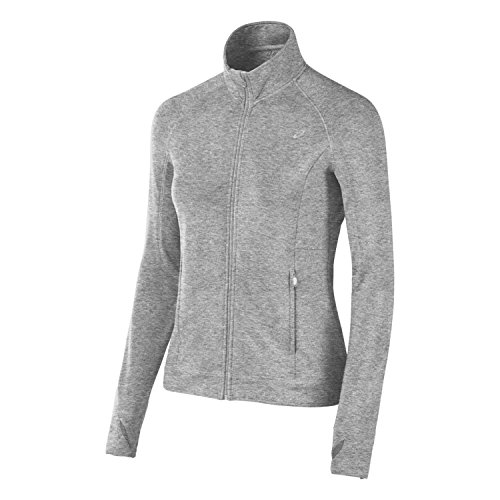 ASICS Damen Full Zip Fleece Jacke, Damen, grau meliert, X-Large