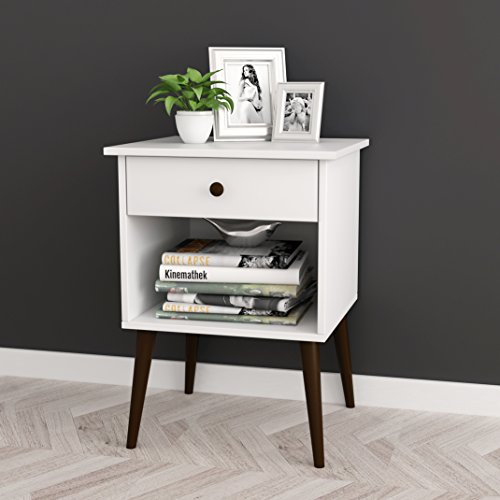 """White/Espresso Nightstand Side End Table Open Storage with Drawer 24"""" H"""