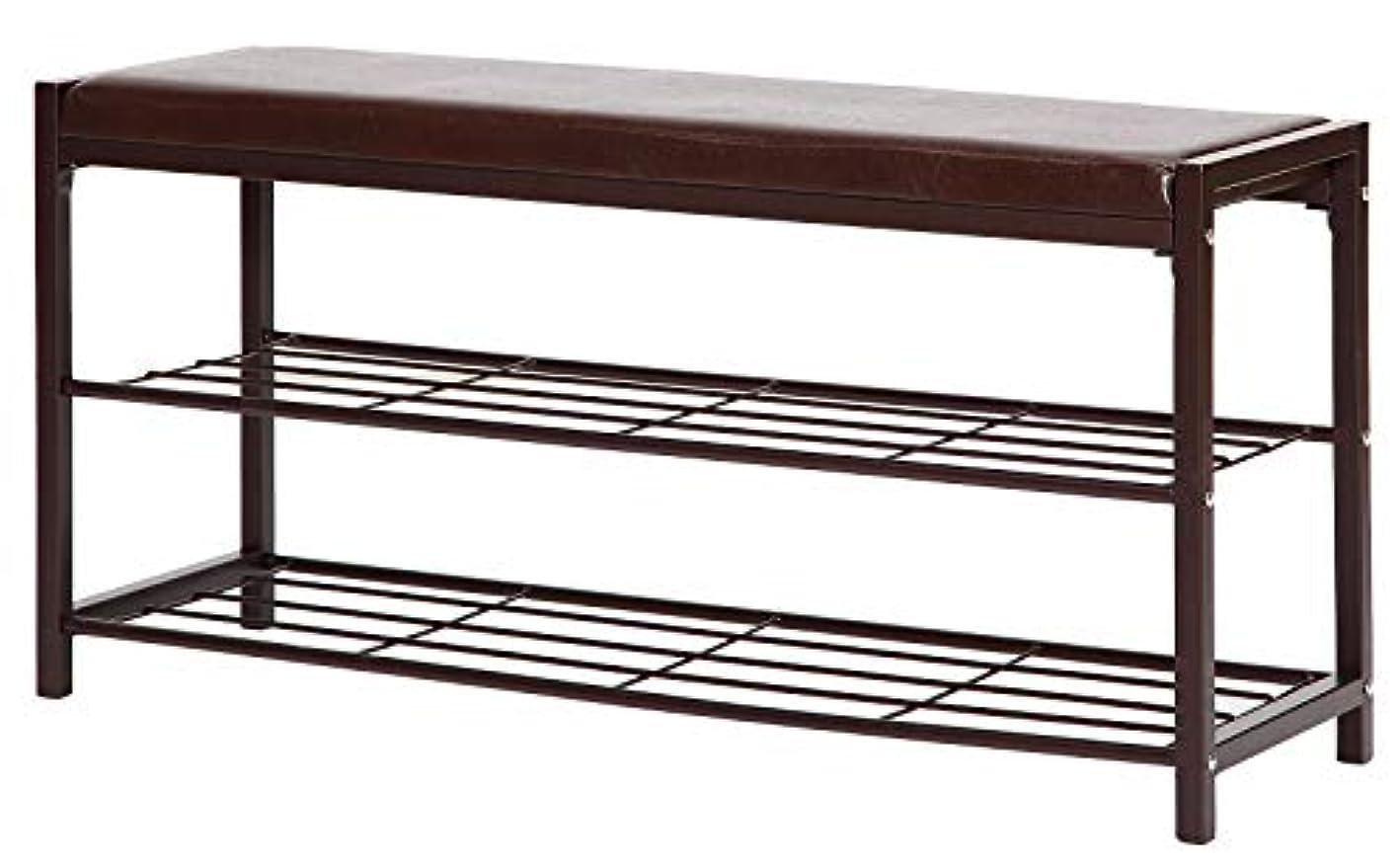 STORAGE MANIAC 2-Tier Shoe Rack Bench with Faux Leather Seat, Entryway Shoe Storage, Hallway Bench
