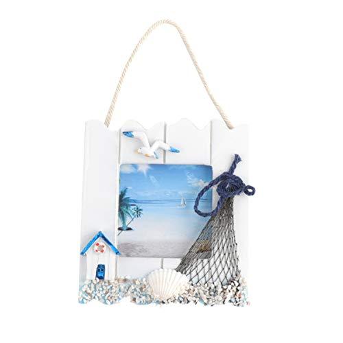 VOSAREA Marco de Fotos de Madera Decoración de Playa Náutica Ornamento Navidad Estilo Mediterráneo Decoración Colgante Marco de Fotos para Oficina en Casa