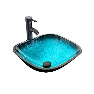 """eclife 16.5"""" Turquoise Square Bathroom Sink Artistic Tempered Glass Vessel Sink Combo with Faucet 1.5 GPM and Pop up Drain Bathroom Bowl A10 (Square Turquoise)"""