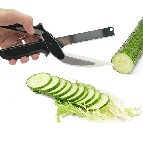 DatGuly Clever Cutter 2 in 1 Food Chopper Kitchen Scissors, Cortador de Alimentos Inteligente Cuchillo de Acero Inoxidable con Tabla de Cortar, Cortador de Tijeras de Verduras