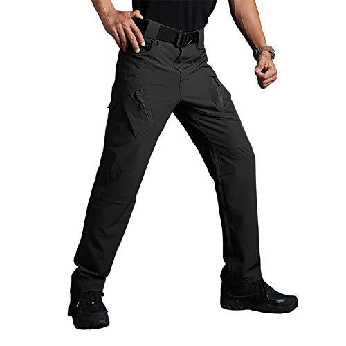 BIYLACLESEN Hunting Pants for Men Tall Hiking Pants Mens Work Pants for Men Fall Pants Camping Pants Summer Cargo Pants Ripstop Tactical Pants Shooting Pants Men Multi-Pockets Black