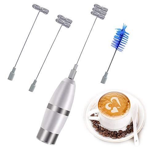 Montalatte Elettrico/Cappuccinatore/ con La Testa del Frullino a Doppia Molla/Portatile Leggero/Sbattitore Inox Alimentazione a Batterie (non incluse)/ con 2 Frullino 1 Spazzola