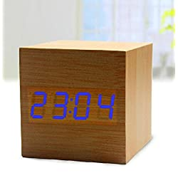 FirstDecor Latest Design Fashion Black Wood Cube Mini Blue LED Wooden Digital Alarm Clock -Time Temperature Display - Voice and Touch Activated