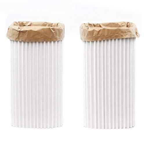leggero design Poubelles « cArtù Wave » : 2 poubelles écologiques en cArtù, chacune munie d'un Sac-Poubelle réutilisable et Recyclable. Taille : Moyen. Dimensions : 29 x 29 x h 54cm. Sac : 30 lt