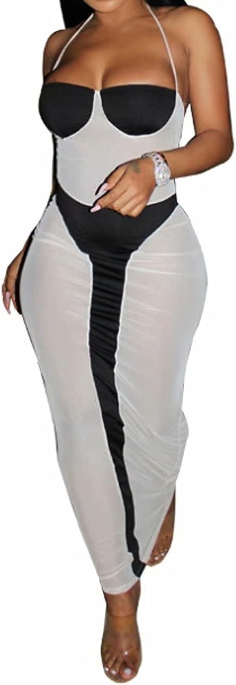 Mintsnow Women Sexy See Through Maxi Dress Halter Spaghetti Strap Bodycon Sleeveless Backless Beach Cover ups Clubwear