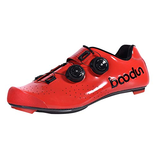 Generic Rennrad Schuhe Fahrrad Rennrad Schuh Quick Lace Sneaker - Rot, 44