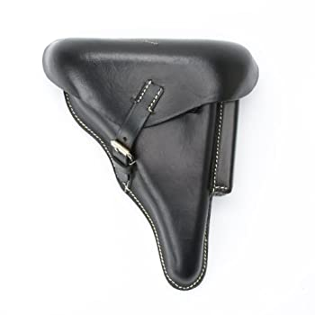 German WWII P08 Luger Black Leather Hardshell Holster P-08 Pattern 1908