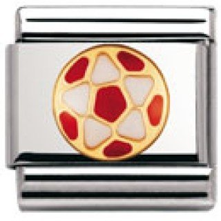Nomination Composable Classic ITAL. Football Edelstahl, Email und 18K-Gold (Weiss - ROT Fussball) 030204