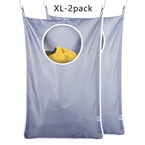KEEPJOY XL Hanging Laundry Hamper, Door Laundry Hamper Bag Hanging with Stainless Steel Hooks,...