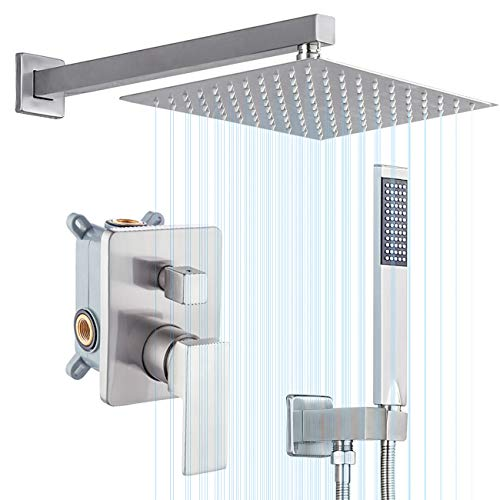 KES Pressure Balancing Rain Shower System 3-Functions Shower Faucet Complete Set Square...