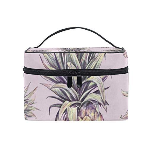 Sac de maquillage Pin tropical sur sac cosmétique rose Grand sac de toilette portable pour les femmes/filles Voyage