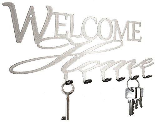 steelprint.de Schlüsselbrett/Hakenleiste * Welcome Home * - Schlüsselboard, Schlüsselleiste, Metall - 6 Haken (Silber)