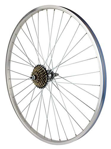 wheelsON 700c 28' Rear Wheel + 7 speed Freewheel Mountain Bike Silver 36H Single wall