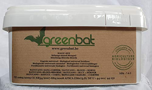 GREENBAT 1 kg Eimer Granulat/ Pellet NPK 7-6-3 Biologische Düngemittelmischung aus Fledermaus Guano, Blutmehl und Rinderhörnern.