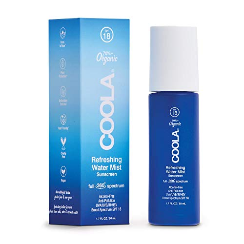 COOLA Organic Refreshing Water Mist Face Sunscreen, Full Spectrum Skin Care with Coconut & Aloe Water, Broad Spectrum SPF 18, Alcohol Free, Reef Safe, 1.7 Fl Oz