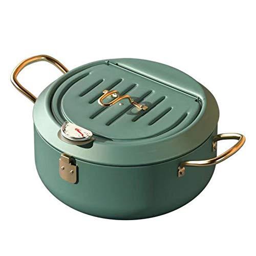 Freidora, sartén Tempura, separador de grasa, freidora controlada por temperatura, con tapa y estante de goteo, para cocinar patatas fritas, verde, 24 cm