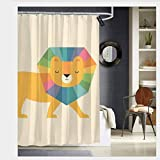Nonebrand Lion Shine Duschvorhang, Polyester, maschinenwaschbar, 152 x 183 cm