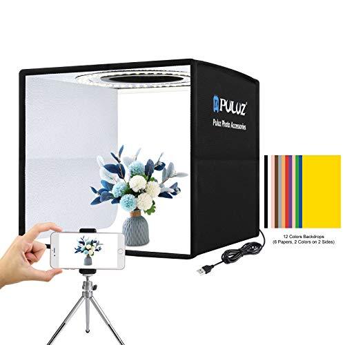PULUZ Mini Photo Studio Light Box, kit de tienda de luz de fotografía plegable portátil con CRI 95 96 piezas de luz LED + 6 tipos de fondos de color de doble cara para productos de tamaño pequeño
