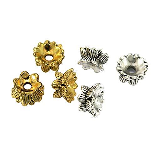 JIHUOO 60 unidades de doble extremo de cuentas de flores espaciadoras tapas de cuentas de joyería para pulseras, collares, pendientes, manualidades