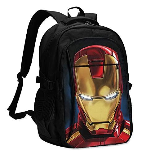 Iron Man Mark Zaino per computer portatile, antifurto, resistente all'acqua, durevole, porta di ricarica USB, adatto per laptop e notebook da 15,6 pollici College School Business Travel