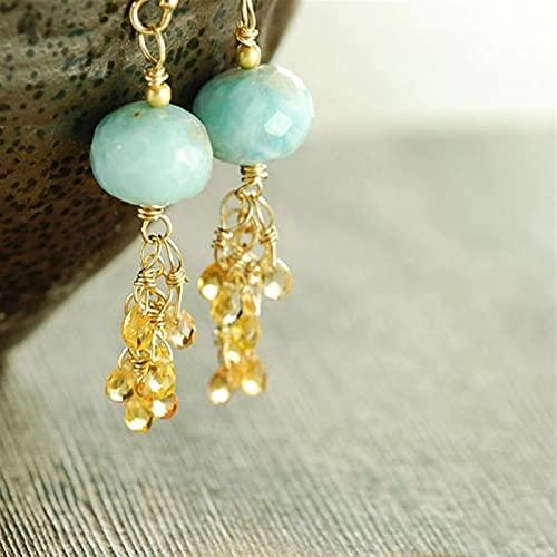 ACEACE Pendientes de Cuello Amarillo del racimo de Zafiro Amarillo (Metal Color : Gold-Color)