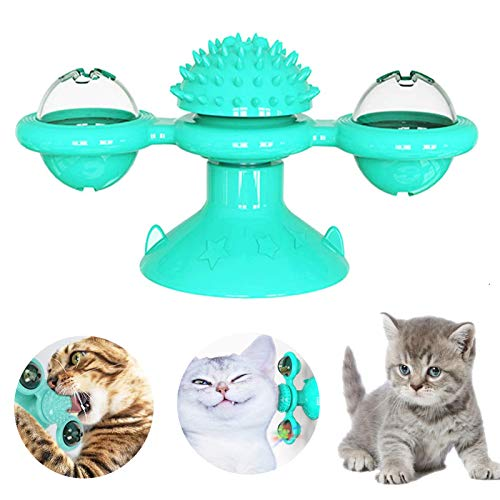 ETHEL Juguetes interactivos para Gatos,Juguete Gato Giratorio,Juguete de Gato Molino de Viento,Muelles en Espiral de Plástico para Gato Gatito Mascotas Novedad Regalo, Juguetes para Mascotas (Azul)
