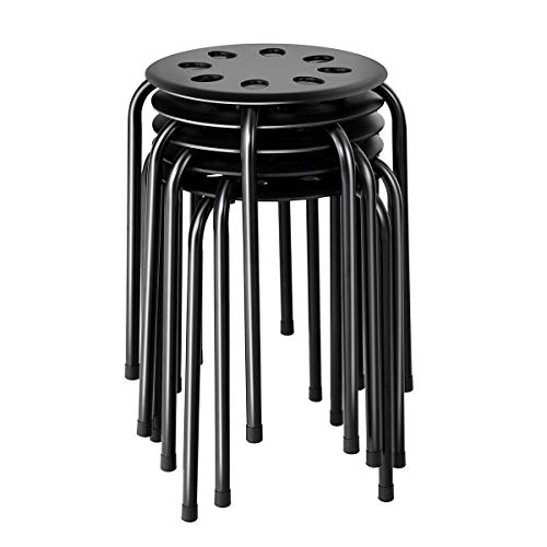"""COSTWAY Stackable stools, Portable Plastic 17"""" Height Backless Stools Round Top Storage Lightweight Perfect for Kitchen Home Living Room Furniture, Set of 5, Black"""