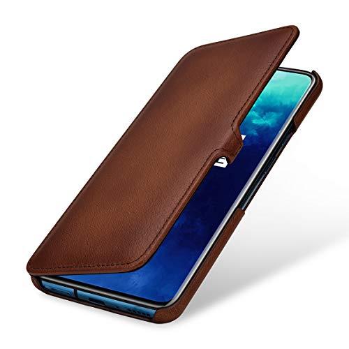 StilGut Hülle geeignet für OnePlus 7T Pro Lederhülle Book Type, braun antik mit Clip