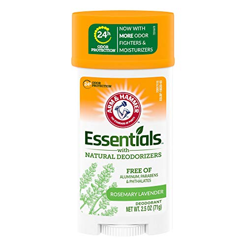 ARM & HAMMER Essentials Deodorant- Fresh Rosemary Lavender- Wide Stick- 2.5oz- Made with Natural Deodorizers- Free From Aluminum, Parabens & Phthalates (Pack of 6)