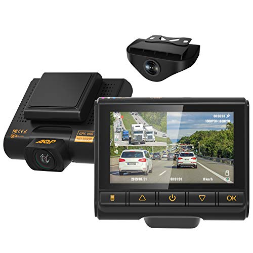 Dual Dash Cam, AQP Full HD 1080P Car Camera Front and Rear for Cars,...