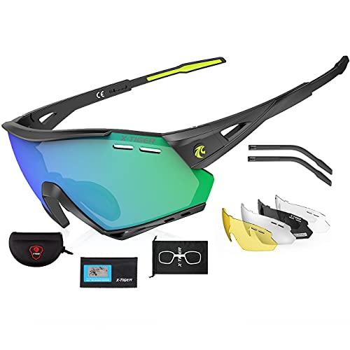 X-TIGER Occhiali Ciclismo CE Autentica Polarizzati con 5 Lenti Intercambiabili Occhiali Bici Antivento e Antiappannamento Occhiali Sportivi da Sole Anti UV da Uomo Donna per Corsa, MTB e Running