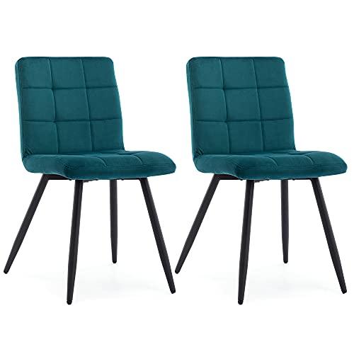 HNNHOME® Cubana Lot de 2 chaises de salle à manger rembourrées pour cuisine, salle à manger, pieds en acier noir, chaise de salon, chaise de réception (bleu sarcelle, velours)
