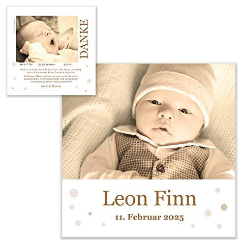 Unser-Festtag Im Pünktchenland Dankeskarte edel modern originell Dankeskarten zur Geburt für Baby, mit 2 x Foto, Ihr Wunschtext - 80 Karten