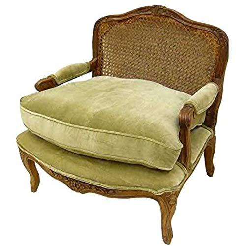 Better & Best Sillón francés Ancho y bajo, con Respaldo de Rejilla, tapizado en Terciopelo Verde, Madera, 71x55x77 cm
