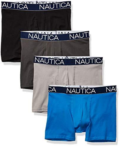 Nautica Men's Cotton Stretch 4 Pack Boxer Brief, Black/Charcoal/Alloy/Capri Blue, Small
