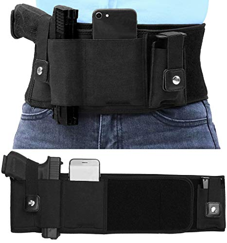 Belly Band Gun Holster for Concealed Carry, Breathable Pistol Holsters with Movable Mag Pouch, Fits Glock, Ruger 9mm, S&W M&P40, Sig Sauer p365, Taurus G3C, Beretta, 1911, for Men & Women - 51'' Belly