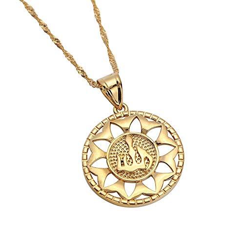 VAWAA Collar Colgante de Moda del hinduismo de Color Dorado Símbolo del hinduismo India Joyería Redonda de Chian