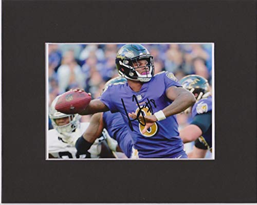 LAMAR JACKSON, BALTIMORE RAVENS, 8 X 10 CUSTOM MATTED PHOTO AUTOGRAPH (THE PHOTO IS 5 by 7)