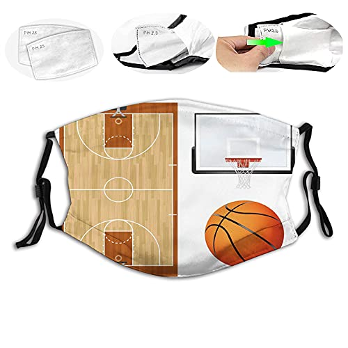 Sports Basketball Court Backboard Illustration Realistic Sports Themed Face Mask Reusable Washable Masks Cloth for Man and Woman