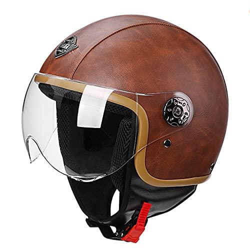 HBRE Retro Moto-Casco,Casco De Esquí Certificado CE Integral Casco De Seguridad,Forro ExtraíBle Resistente Transpirable para Esquí, Patineta, Protector 56-60cm,Brown