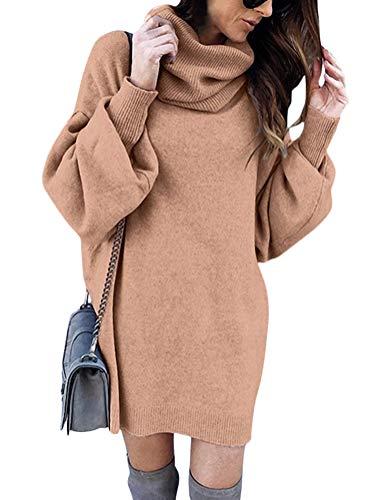 Minetom Damen Pullover Kleid Rollkragen Minikleid Winterkleid Strickkleid Warm Langarm Oversize Stricksweat Strickpullover Lose Sweatkleid Khaki DE 42