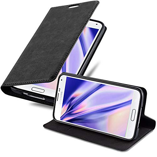 Cadorabo Hülle für Samsung Galaxy S5 / S5 NEO in Nacht SCHWARZ - Handyhülle mit Magnetverschluss, Standfunktion und Kartenfach - Case Cover Schutzhülle Etui Tasche Book Klapp Style